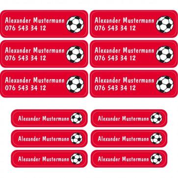 Namensaufkleber individualisierbar (72 Stück) | kidSticker rot mit Fußball
