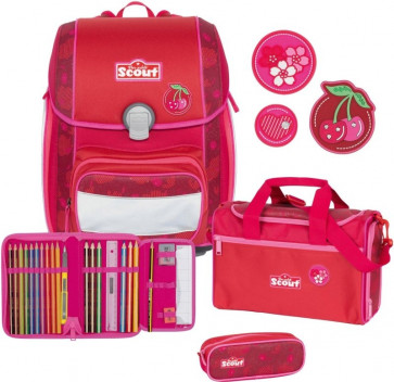 "Scout Genius Schulranzen-Set 4-teilig ""Cherry Red"""
