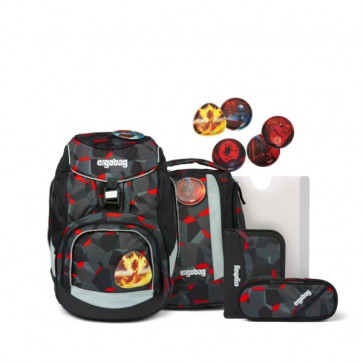 ergobag pack TaekBärdo Schulrucksack-Set grau/rot