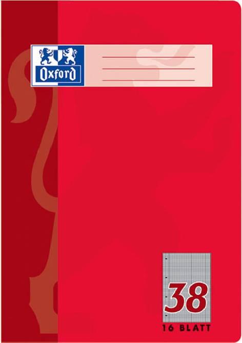 kariert 16 Blatt Oxford Schulheft DIN A4 Lineatur 22