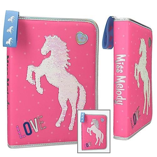 Miss Melody 3-fach Federmappe Pailletten rosa Depesche Schüleretui Pferde