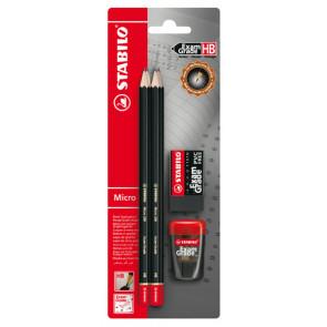 Stabilo Bleistiftset Exam Grade Black 5tlg. Blisterkarte (4Bleistifte-Radierer-