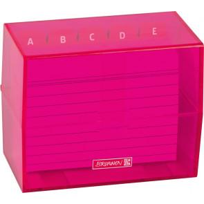 Brunnen Karteikartenbox DIN A7 gefüllt pink transparent
