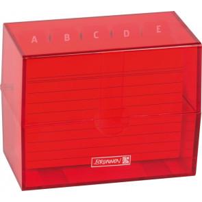 Brunnen Karteikartenbox DIN A7 gefüllt rot transparent