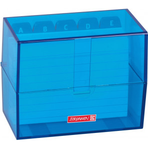 Brunnen Karteikartenbox DIN A7 gefüllt blau transparent
