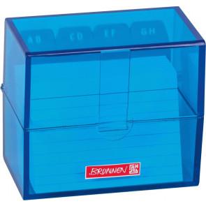 Brunnen Karteikartenbox DIN A8 gefüllt blau transparent