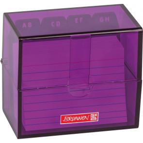 Brunnen Karteikartenbox DIN A8 gefüllt lila transparent