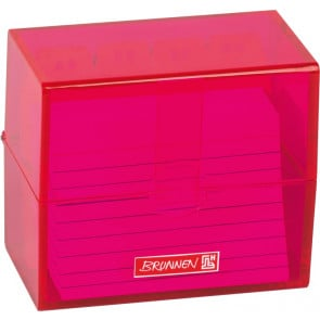 Brunnen Karteikartenbox DIN A8 gefüllt pink transparent
