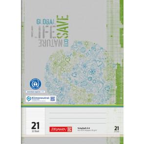 BRUNNEN Schulheft Recycling A4 Lineatur 21 liniert 32 Blatt