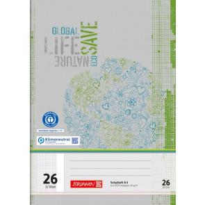 BRUNNEN Schulheft Recycling A4 Lineatur 26 kariert 32 Blatt