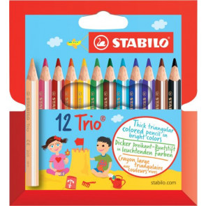 Stabilo Farbstift Dreikant Buntstifte Trio kurz, dick 12er Etui