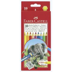 Faber-Castell Jumbo-Farbstift 10er-PC Wasserlack mit Spitzer