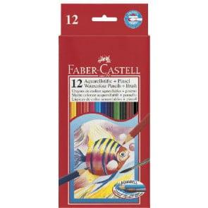 Faber Castell Aquarell-Farbstifte 12er Set mit 1 Pinsel