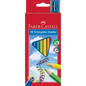 Faber Castell Farbstift Jumbo Dreikant 10er-Etui lackiert 116510 Triangular