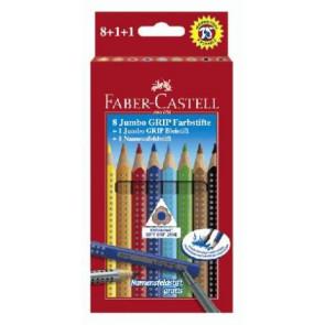 Faber Castell Farbstifte Jumbo Grip 8er Schachtel mit Blei- stift und Namensfeldstift