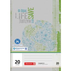 BRUNNEN Schulheft Recycling A4 Lineatur 20 unliniert 32 Blatt Vorderseite