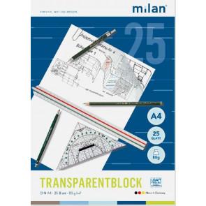 Milan Transparentpapier-Block A4 25Bl 80G Milan 244-4 Folia 8000-25