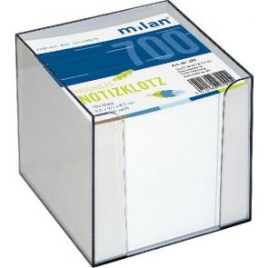 Milan Milan-Zettelbox ca. 700Bl transparent 10x10x10 Einlage weiß Milan 270