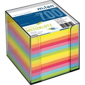 Milan Zettelbox-transparent 10x10x10cm 700Bl Milan farbiges Papier Milan 277