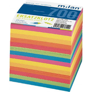 Milan Zettelbox-Ersatzklotz 9x9x9 cm ca. 700 Bl 4315 farbiges Papier Milan 278