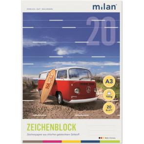 Milan Zeichenblock A3 20Bl chlorfrei 100g Milan 56320
