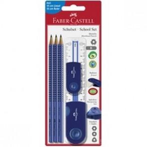 Faber Castell Schreibset Sleeve gross blau 3Bleistifte- Radierer-Spitzer-Li