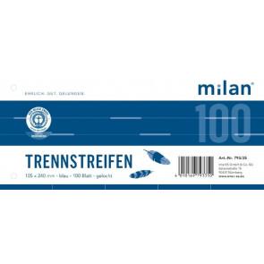 Milan Trennstreifen Milan 100er Pc 190g 240x105mm blau