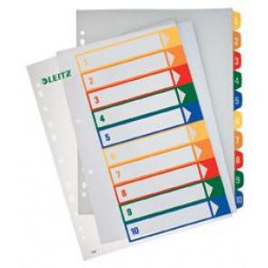 Leitz Register Plastik Zahlen 1-10 2X5Farbig 1293-00-00 Bedruckbar