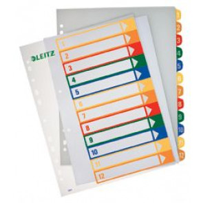 Leitz Register Plastik Zahlen 1-12 2X6Farbig 1294-00-00 Bedruckbar