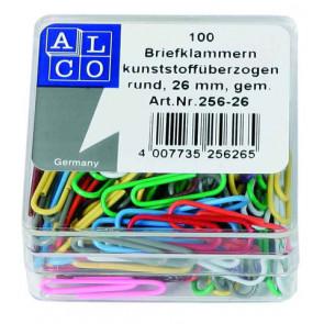 ALCO Büroklammer 26mm mit Plastiküberzug 100 Stück