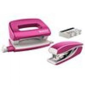 Leitz Heftmaschine (10 Blatt) und Locher Wow NeXXt Mini im Set pink