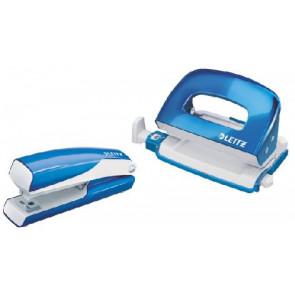 Leitz Heftmaschine (10 Blatt) und Locher Wow NeXXt mini im Set blau metallic