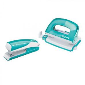 Leitz Heftmaschine (10 Blatt) und Locher Wow NeXXt Mini im Set blau