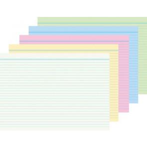 RNK Karteikarten DIN A7 je 20 Karten weiß/gelb/rosa/blau/grün liniert
