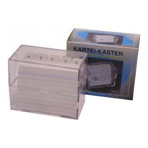 Stylex Karteikartenbox transparent DIN A6 quer mit Register  incl. 100 Karteikarten