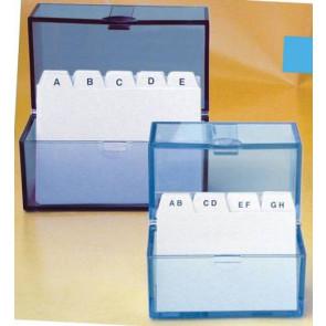Stylex Karteikartenbox transparent DIN A8 quer mit Register incl. 100 Karteikarten