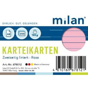 RNK Karteikarte DIN A8 Milan rosa liniert 200St.