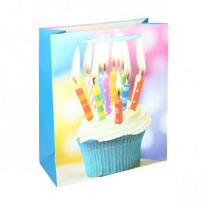 Geschenktüte Papier Happy Birthday Motiv -Cupcake mit Kerzen - Größe: L
