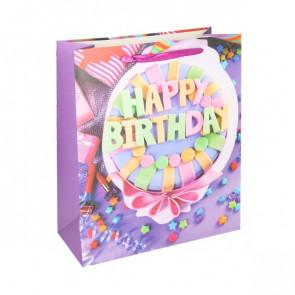 Geschenktüte Papier Happy Birthday Motiv - Happy Birthday Geburtstagstorte - Größe: L