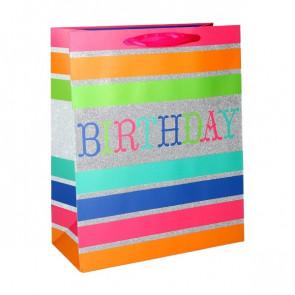 Geschenktüte Papier Happy Birthday Motiv - Birthday Glitzer - Größe: L