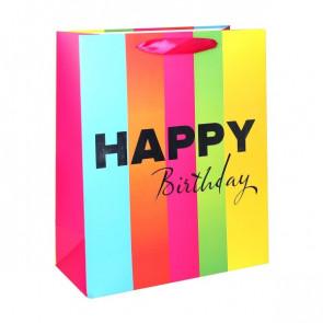 Geschenktüte Papier Happy Birthday Motiv - Happy Birthday Schriftzug Silber/Weiß - Größe: L