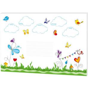 """RNK Schreibtischunterlage 60x42cm Motiv: """"Schmetterlinge"""" 30 Blatt 80g Papier"""