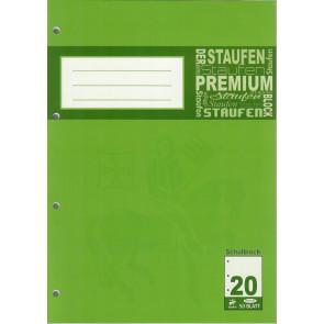Staufen Brief-Block A4 50Bl 4Fach gelocht blanko Premium chlorfrei 90G Schulblock