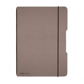Herlitz my.book flex - Taupe Lederoptik Notizheft kariert A4 40 Blatt, gelocht mit Mikroperforation