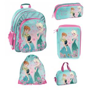 Frozen Schulranzen-Bundle Variante 1 (Schulranzen, Turnbeutel, Schlampermäppchen, Federmäppchen und Sporttasche)