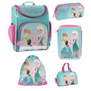 Frozen Schulranzen-Bundle Variante 2 (Schulranzen, Turnbeutel, Schlampermäppchen, Federmäppchen und Sporttasche)