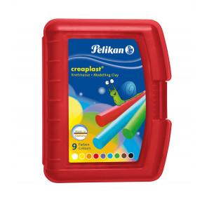 Pelikan Knete Creaplast® 9 verschiedene Farben in roter Kunststoffbox