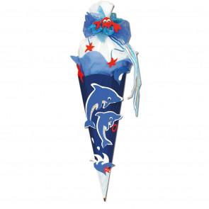 Schultüte Bastelset Delfin von Roth 6-eckig 68cm Kreppverschluss