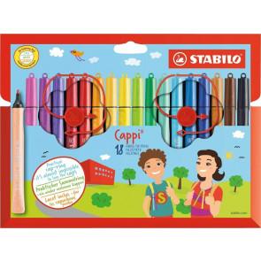 Filzstift mit Kappenring - STABILO Cappi - 18er Pack