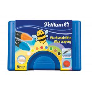 Pelikan Wachsmalstifte wasservermalbar Kunststoff-Etui blau mit 8 dicken runden Stiften und Schaber